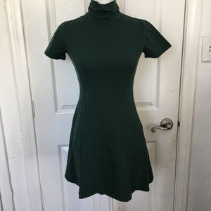 Forever21 dark green turtle neck skater dress🎀